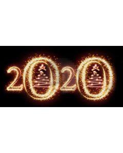 Golden 2020 Christmas Tree Computer Printed Dance Recital Scenic Backdrop ACP-1296