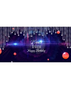 Birthday Party 16Th Diamonds Computer Printed Dance Recital Scenic Backdrop ACP-1303