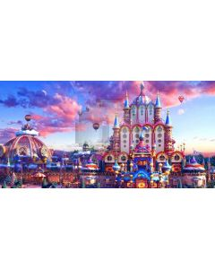 Christmas Eve Fairy Tale Castle Air Balloon Computer Printed Dance Recital Scenic Backdrop ACP-1307