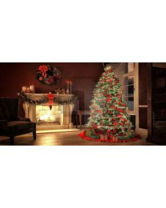 tree and fireplace Computer Printed Dance Recital Scenic Backdrop ACP-414