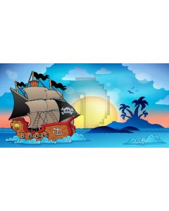 Pirate Ship Computer Printed Dance Recital Scenic Backdrop ACP-497