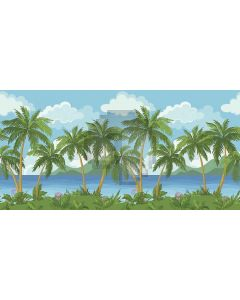 strong palm tree Computer Printed Dance Recital Scenic Backdrop ACP-505