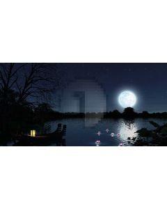 Tree Moon Sea Boat Lotus Lantern Computer Printed Dance Recital Scenic Backdrop ACP-535