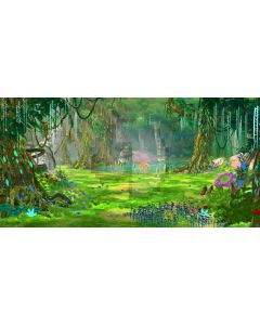 Bright Forest Flower River Computer Printed Dance Recital Scenic Backdrop ACP-543