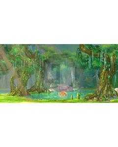 Bright Forest River Stone Illumination Computer Printed Dance Recital Scenic Backdrop ACP-545