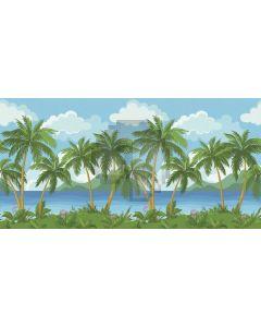 Seaside Tree Grass Flower Cloud Sky Computer Printed Dance Recital Scenic Backdrop ACP-571