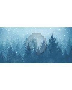 Snow Tree Mountain Computer Printed Dance Recital Scenic Backdrop ACP-587