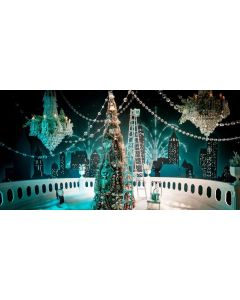 Christmas Tree Candle Building Computer Printed Dance Recital Scenic Backdrop ACP-588