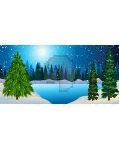 River Tree Moon Snow Computer Printed Dance Recital Scenic Backdrop ACP-592