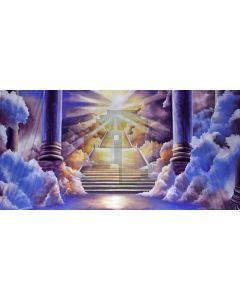 Pillar Stairs Cloud Sunshine Computer Printed Dance Recital Scenic Backdrop ACP-595