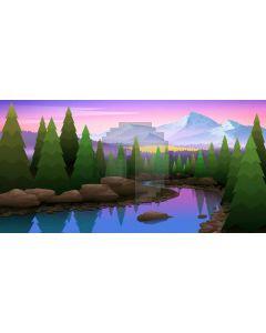 Tree River Mountain Sunset Stone Computer Printed Dance Recital Scenic Backdrop ACP-608