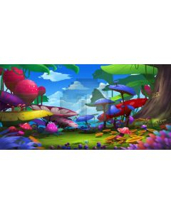 Tree Mushroom Cloud Sky Computer Printed Dance Recital Scenic Backdrop ACP-613