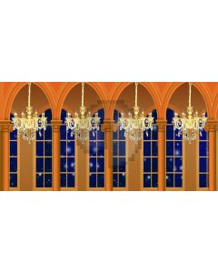 Arch Window Ceiling Lamp Computer Printed Dance Recital Scenic Backdrop ACP-617