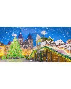 Christmas Tree Snow Light Computer Printed Dance Recital Scenic Backdrop ACP-621