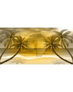 Sea Tree Beach Sunset Computer Printed Dance Recital Scenic Backdrop ACP-655