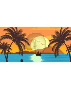 Sea Sun Boat Tree Computer Printed Dance Recital Scenic Backdrop ACP-679