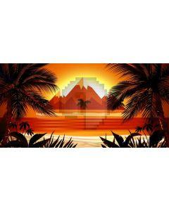 Mountain Sea Sunset Tree Computer Printed Dance Recital Scenic Backdrop ACP-683