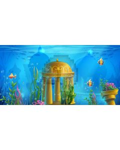 Underworld Sea Pillar Fish Water Plants Computer Printed Dance Recital Scenic Backdrop ACP-705