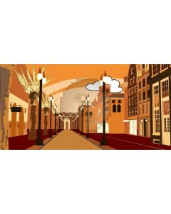 Street Building Cloud Tree Computer Printed Dance Recital Scenic Backdrop ACP-712