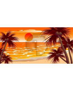 Sea Sunset Tree Sun Computer Printed Dance Recital Scenic Backdrop ACP-718