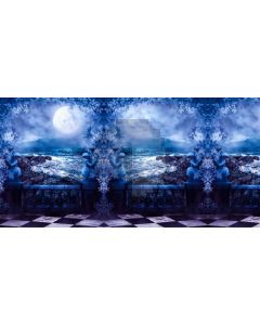 Blue Flower Balcony Flower Computer Printed Dance Recital Scenic Backdrop ACP-757