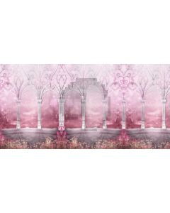 Pink Flower Foggest Flower Shaped Computer Printed Dance Recital Scenic Backdrop ACP-804