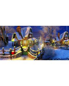House Snow Tree Light Computer Printed Dance Recital Scenic Backdrop ACP-821