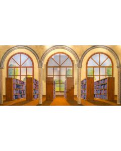 Arch Bookshelf Plant Floor Computer Printed Dance Recital Scenic Backdrop ACP-828