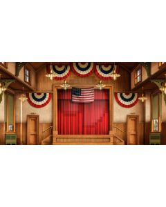 Flag Wood Door Curtain Window Computer Printed Dance Recital Scenic Backdrop ACP-834