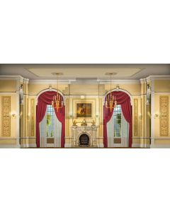 Curtain Window Ceiling Lamp Painting Fireplace Computer Printed Dance Recital Scenic Backdrop ACP-841