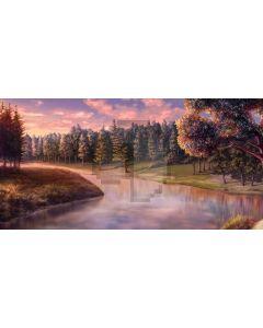 Tree Sea Grass Sunset Computer Printed Dance Recital Scenic Backdrop ACP-857