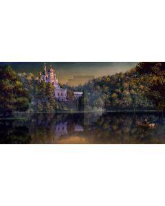 Castle Tree River Boat Computer Printed Dance Recital Scenic Backdrop ACP-861