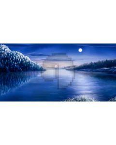 River Moon Tree Computer Printed Dance Recital Scenic Backdrop ACP-863