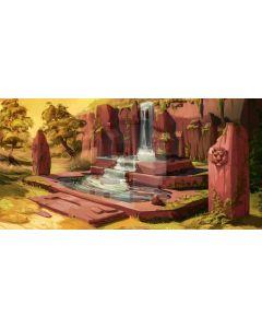 Tree Stone Grass Fountain Computer Printed Dance Recital Scenic Backdrop ACP-869