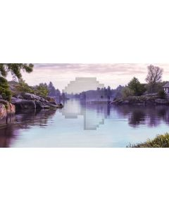 Tree Stone River Sky Computer Printed Dance Recital Scenic Backdrop ACP-901
