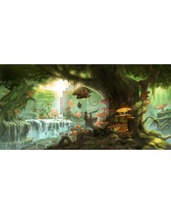 Tree Mushroom Light Fountain Computer Printed Dance Recital Scenic Backdrop ACP-902