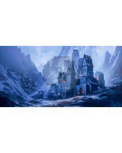 Castle Fire Mountain Computer Printed Dance Recital Scenic Backdrop ACP-916