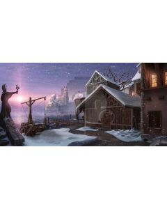 Snow Cabin Tree Computer Printed Dance Recital Scenic Backdrop ACP-974