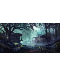 Tree House Fog Computer Printed Dance Recital Scenic Backdrop ACP-990