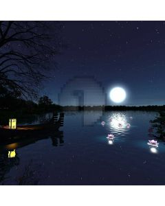Moon Light Boat Sea Flower Computer Printed Photography Backdrop AUT-026