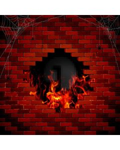 Brick Wall Fire Computer Printed Photography Backdrop AUT-901