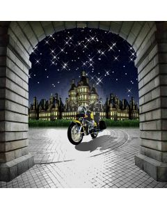 Motorcycle and castle Computer Printed Photography Backdrop DGX-394