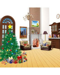 Indoor Xmas tree and gifts Computer Printed Photography Backdrop DGX-400