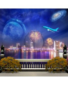 Night scene and fireworks Computer Printed Photography Backdrop DGX-404