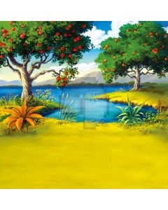 Fruit trees grass small river Computer Printed Photography Backdrop DT-11-227
