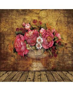Large peonies old wall Computer Printed Photography Backdrop DT-12-35