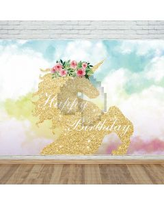 Happy Birthday Horse Cloud Computer Printed Photography Backdrop DTU-536