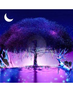 Moon Tree Color Rope Elk Computer Printed Photography Backdrop HXB-047