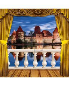 Curtain Balcony Sea Castle Computer Printed Photography Backdrop HXB-053