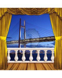 Curtain Balcony Sea Bridge Computer Printed Photography Backdrop HXB-055